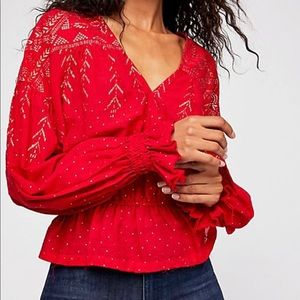 Free People rsvp yes red/gold top medium new